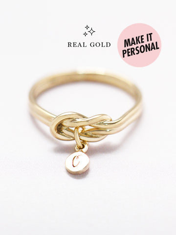 [REAL GOLD] Knotted for Eternity Tiny Disc Ring 16.8k Yellow Gold