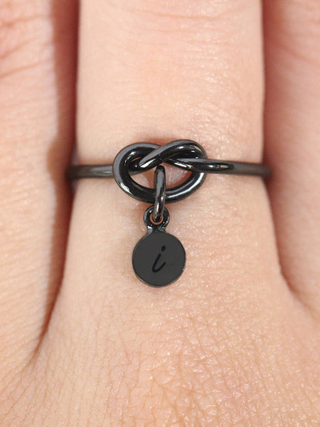 KNOTTED HEART Tiny Disc Ring Black Ruthenium [ENGRAVABLE]