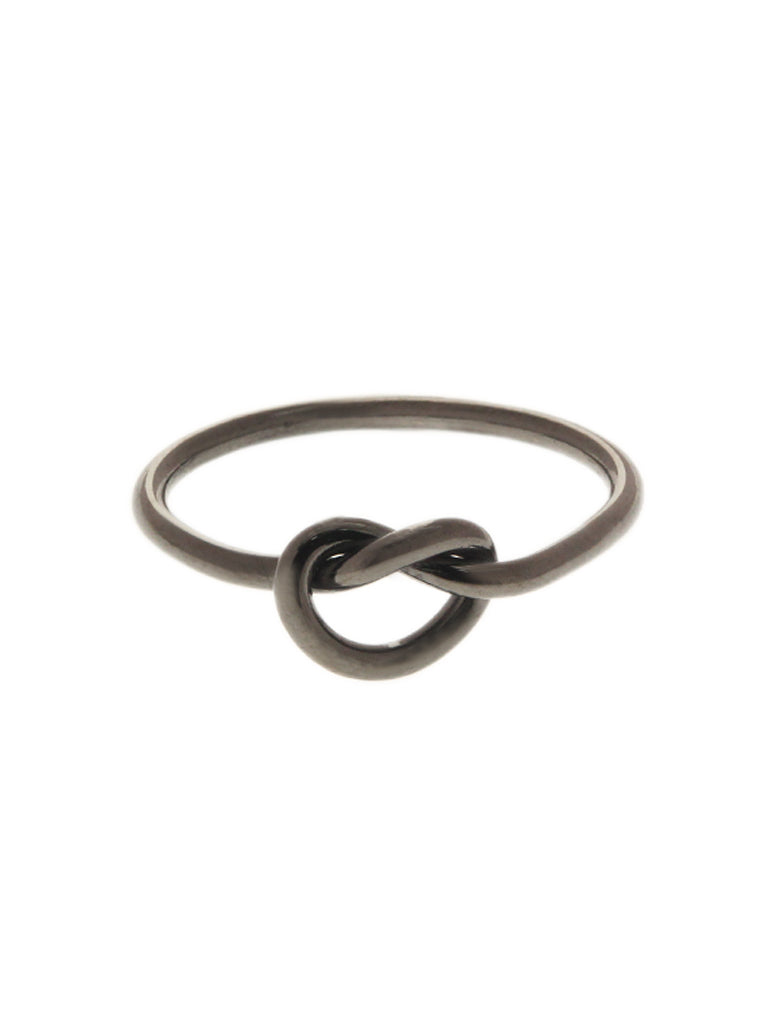 KNOTTED HEART Ring Black Ruthenium Plating