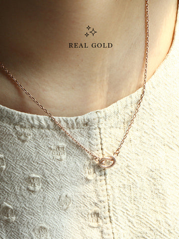 [REAL GOLD] KNOTTED HEART Necklace 16.8k Rose Gold