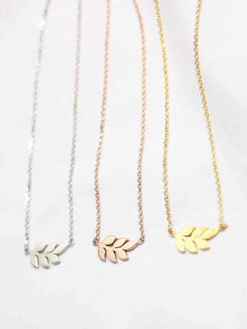 ÉTIENNE Leaf Necklace 14k Rose Gold Dip