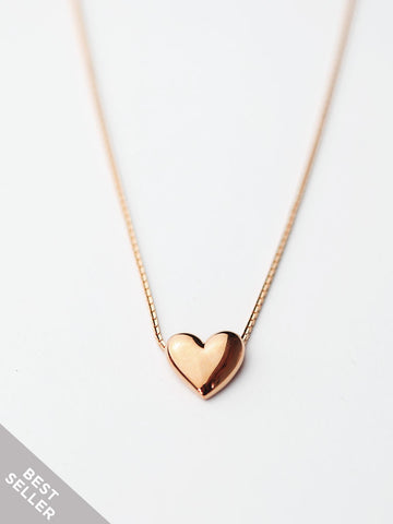 TINY HEART Necklace in 14k Rose Gold Dip [ENGRAVABLE]