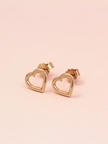 [PRE-ORDER] LOVE STRUCK HEART Ear Studs 14k Rose Gold Dip