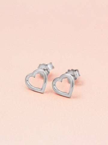 LOVE STRUCK HEART Ear Studs 925 Sterling Silver
