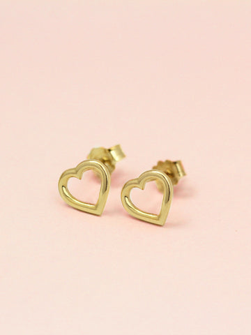 LOVE STRUCK HEART Ear Studs 16.8k Yellow Gold Dip