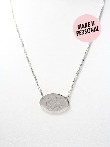 Engravable BONNIE's Oval Bar Necklace
