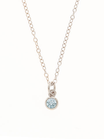 MARCH Birthstone Pendant 925 Sterling Silver & Gold Dip [AQUAMARINE]