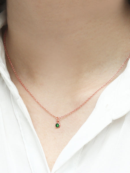 MAY Birthstone Pendant 925 Sterling Silver & Gold Dip [EMERALD]
