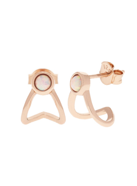 OPAL Huggie Earrings 14k Rose Gold Dip