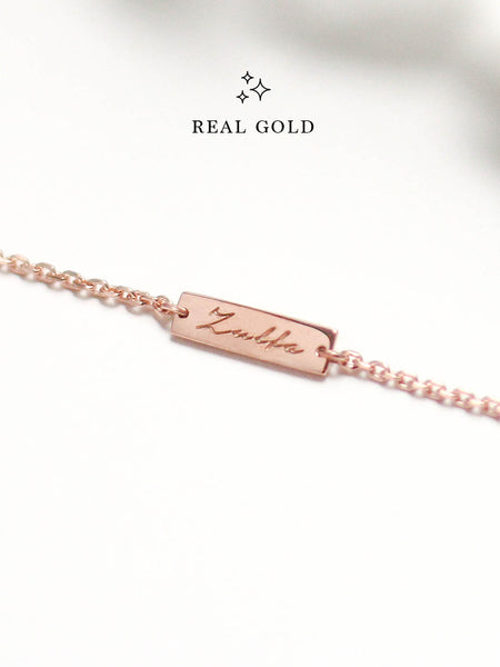 [REAL GOLD] Engravable ABBEY's Bar Bracelet 16.8k Rose Gold