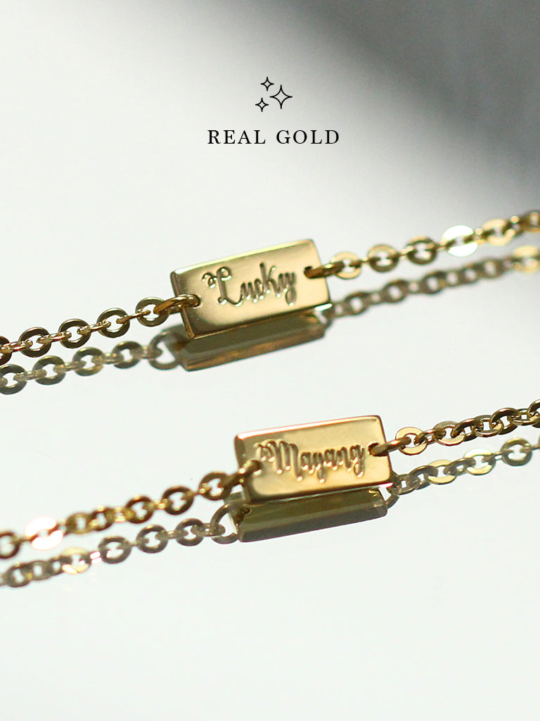 [REAL GOLD] Engravable ABBEY's Bar Bracelet 16.8k Yellow Gold