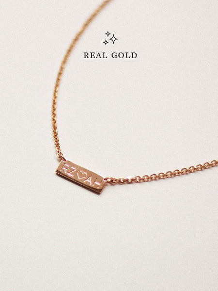 [REAL GOLD] Engravable PAIGE's Bar Necklace 16.8k Rose Gold