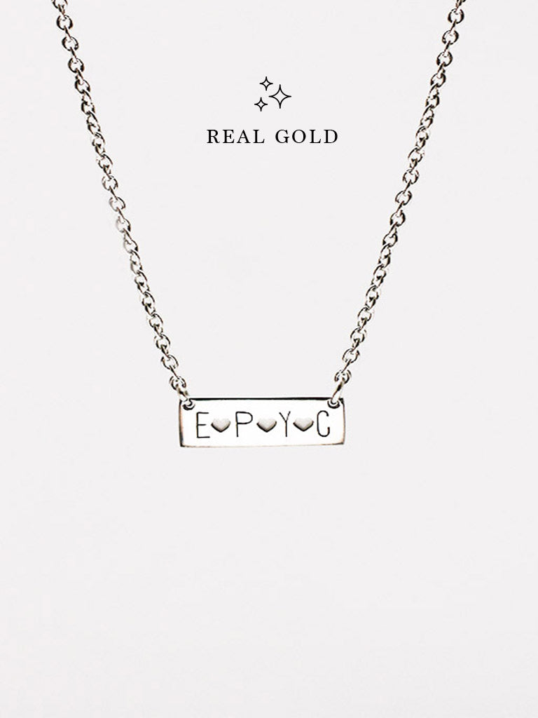 [REAL GOLD] Engravable PAIGE's Bar Necklace 18k White Gold