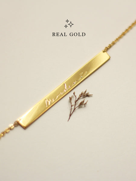[REAL GOLD] Engravable PAIGE's Bar Necklace 16.8k Yellow Gold