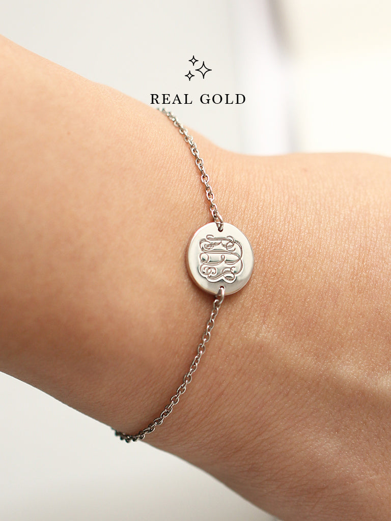 [REAL GOLD] Engravable PENELOPE's Round Monogram Disc Bracelet 18k White Gold