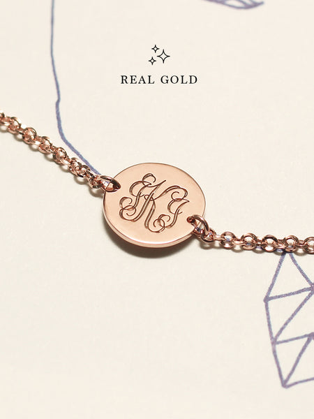 [REAL GOLD] Engravable PENELOPE's Round Monogram Disc Bracelet 16.8k Rose Gold