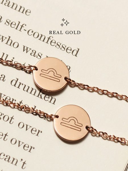 [REAL GOLD] Engravable ZODIAC Round Disc Bracelet 16.8k Rose Gold