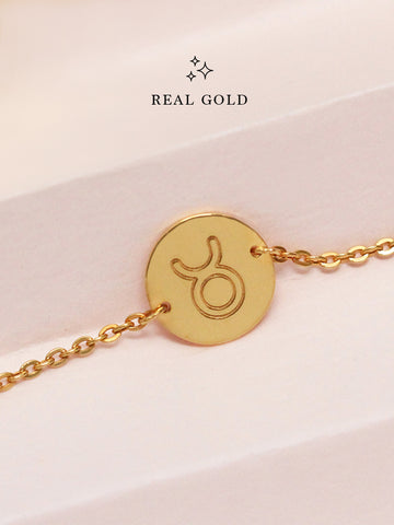 [REAL GOLD] Engravable ZODIAC Round Disc Bracelet 16.8k Yellow Gold