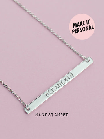 Personalized MABEL's Handstamped Bar Necklace 925 Sterling Silver & Gold Dip