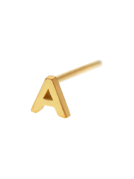 Petite ALPHABET Earstud 925 Sterling Silver & Gold Dip