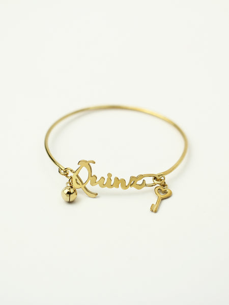 Personalized MON CHERI Charm Cuff 925 Sterling Silver & Gold Dip