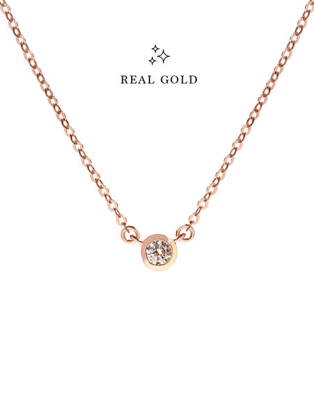 [REAL GOLD] AYLA Moonlight Zirconia Necklace 16.8k Rose Gold