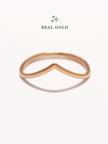 [REAL GOLD] VENUS Chevron Ring 18k Rose Gold