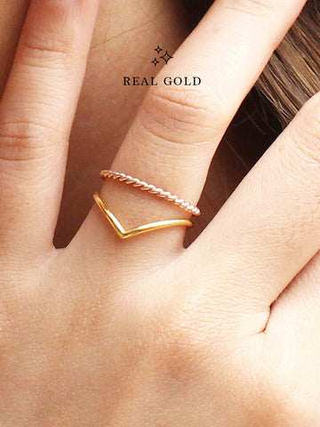 [REAL GOLD] VENUS Chevron Ring 16.8k Yellow Gold