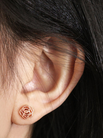 ROSE Ear Studs 14k Rose Gold Dip