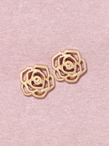 ROSE Ear Studs 16.8k Yellow Gold Dip