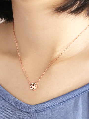 ROSE Necklace 14k Rose Gold Dip