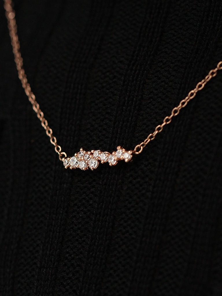 SUPERNOVA Zirconia Necklace 14k Rose Gold Dip