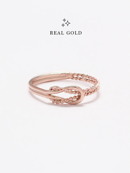 [REAL GOLD] Knotted Odyssey Ring 18k Rose Gold