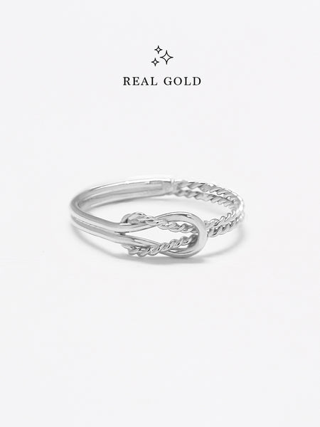 [REAL GOLD] Knotted Odyssey Ring 18k White Gold