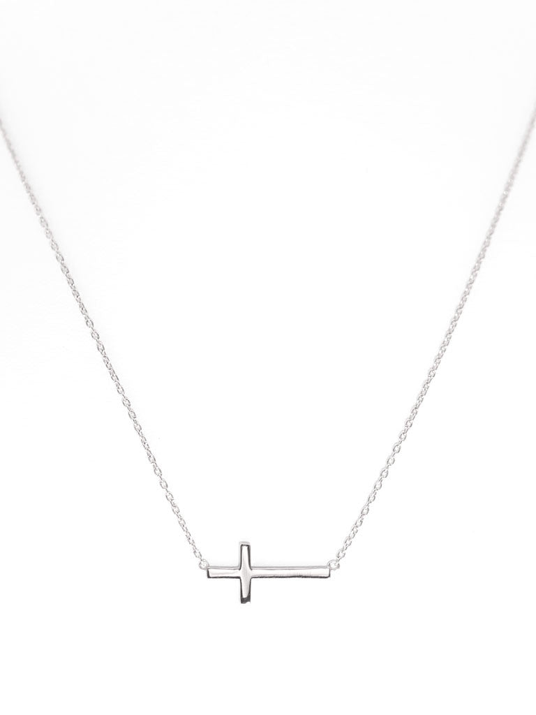 Sideways Cross Necklace 925 Sterling Silver