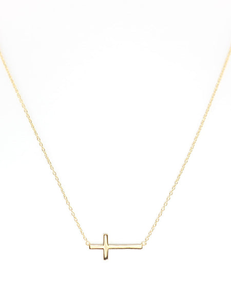 Sideways Cross Necklace 16.8k Yellow Gold Dip