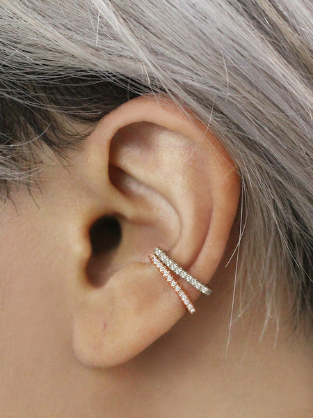 PAVE Conch Ear Cuff 925 Sterling Silver & Gold Dip