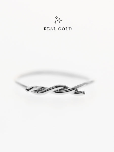 [REAL GOLD] Knotted Thread Ring 18k White Gold