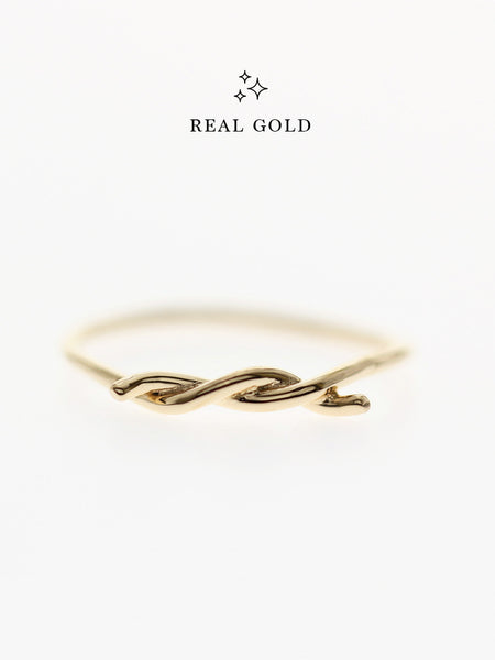 [REAL GOLD] Knotted Thread Ring 16.8k Yellow Gold