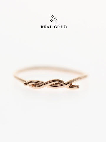 [REAL GOLD] Knotted Thread Ring 18k Rose Gold