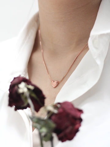 TINY HEART Necklace in 14k Rose Gold Dip