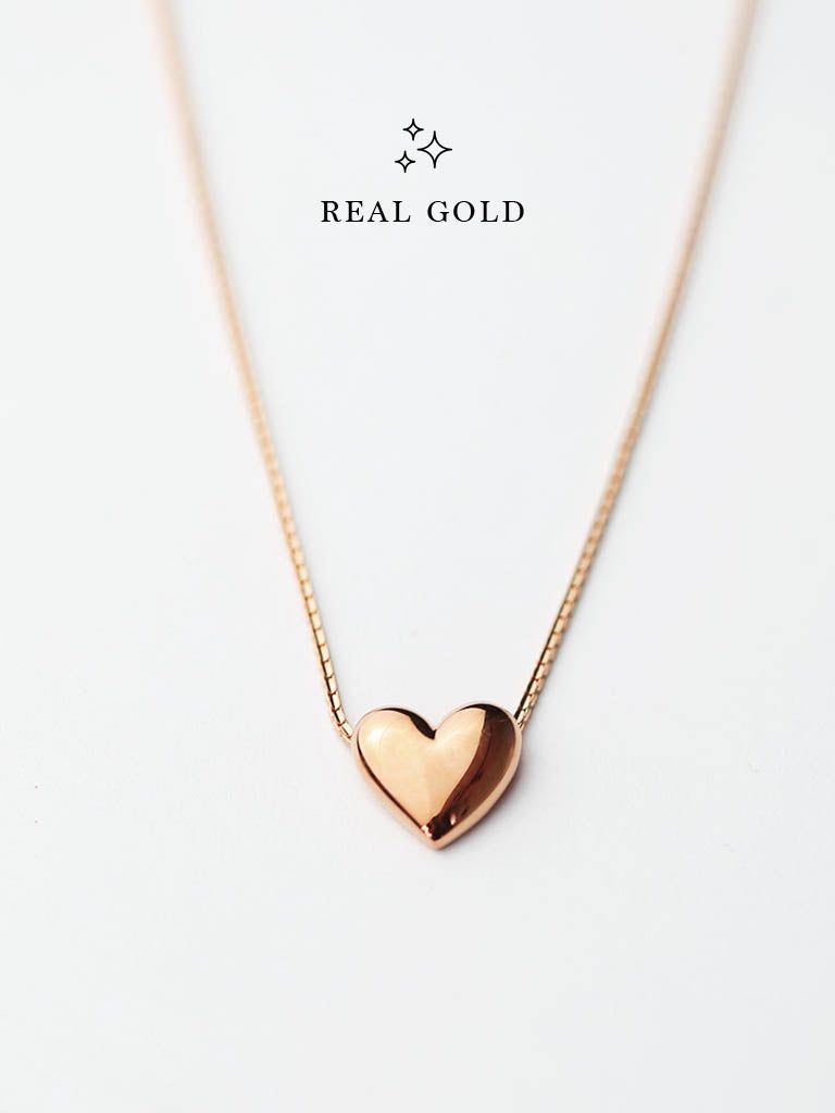 [REAL GOLD] Engravable TINY HEART Necklace 16.8k Rose Gold