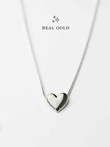 [REAL GOLD] Engravable TINY HEART Necklace 18k White Gold