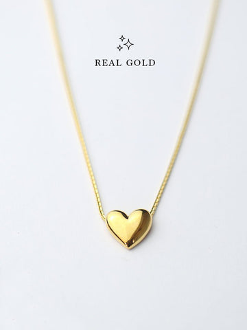 [REAL GOLD] Engravable TINY HEART Necklace 16.8k Yellow Gold