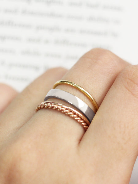 GRANDE STACKER Ring 925 Sterling Silver & Gold Dip