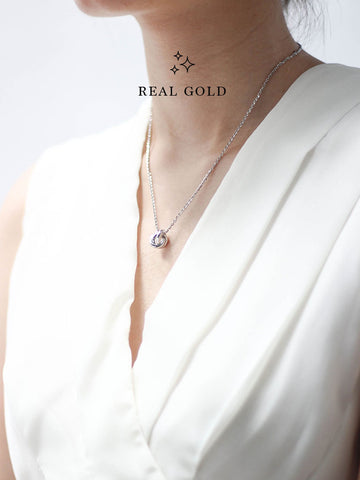 [REAL GOLD] TRINITY Necklace 18k White Gold
