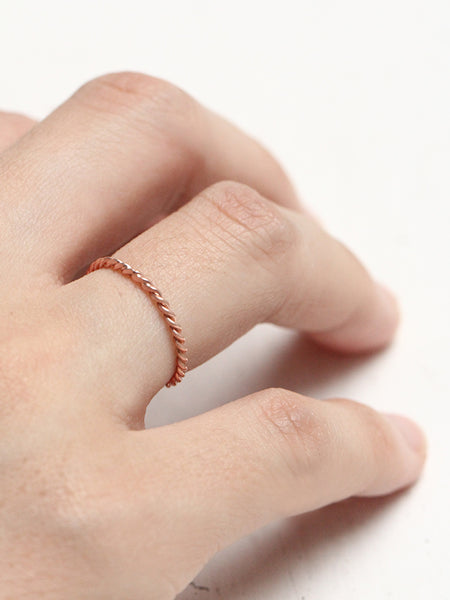 KNOTTED TWIST STACKER Ring 14k Rose Gold Dip