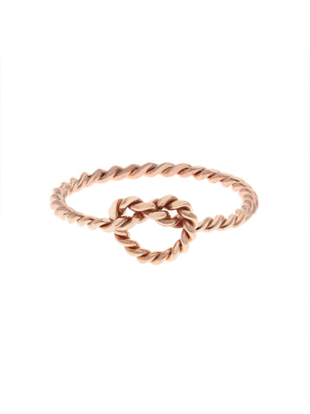 KNOTTED TWIST HEART Ring 14k Rose Gold Dip