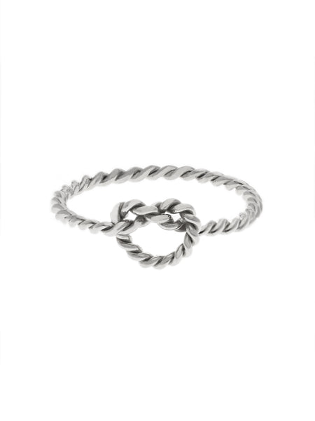 KNOTTED TWIST HEART Ring 925 Sterling Silver