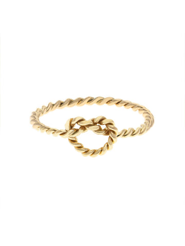 KNOTTED TWIST HEART Ring 16.8k Yellow Gold Dip